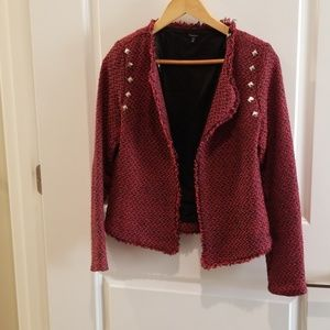 Red and navy tweed studded  jacket